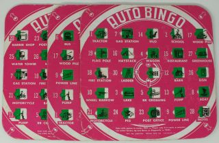 Auto Bingo; Game Cards Set (Three